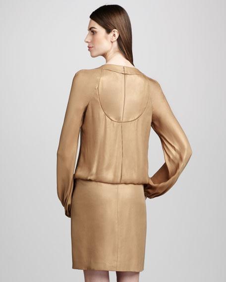 Beaded-Neck Blouson Dress