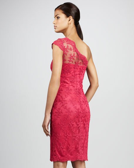 One-Shoulder Lace Cocktail Dress