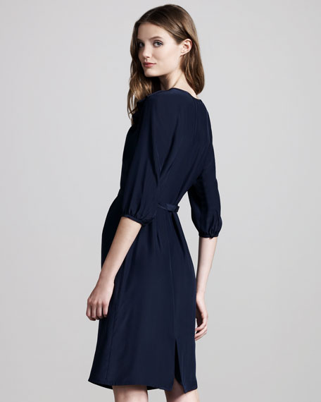 Side-Ruffle Silk Dress