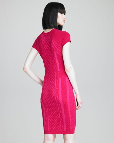 Cap Sleeve Patterned Knit Dress