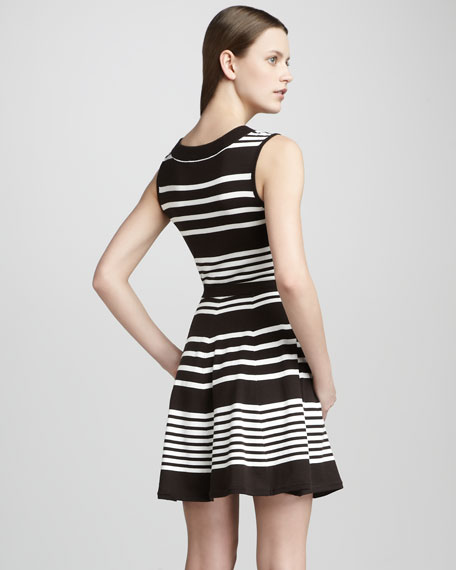 Sleeveless Scoop-Neck Striped Dress