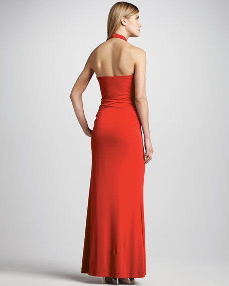 Drape-Neck Jersey Gown