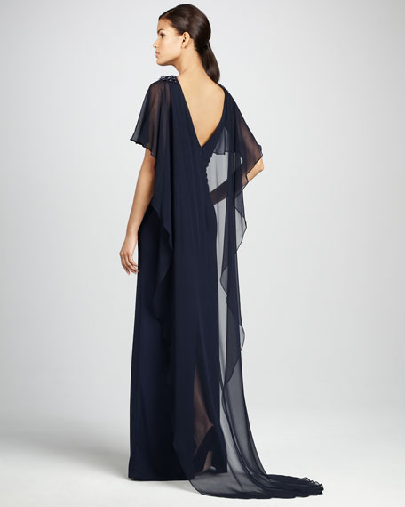 Bead-Shoulder Cape Gown