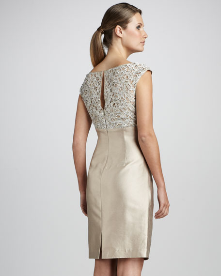 Lace-Bodice Cocktail Dress