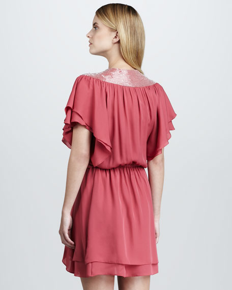 Bead-Shoulder Charmeuse Dress