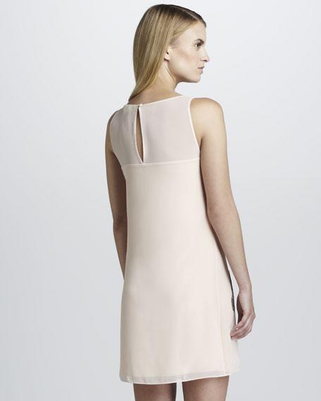 Printed Chiffon Sleeveless Shift Dress