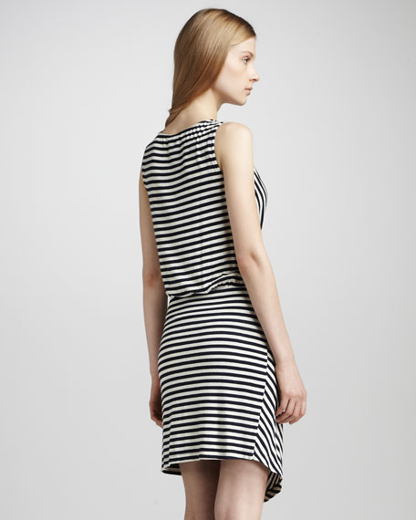 Striped Wrap-Illusion Dress
