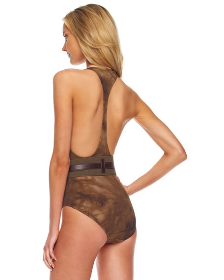 Belted Racerback Maillot Swimsuit, Olive Tie Dye