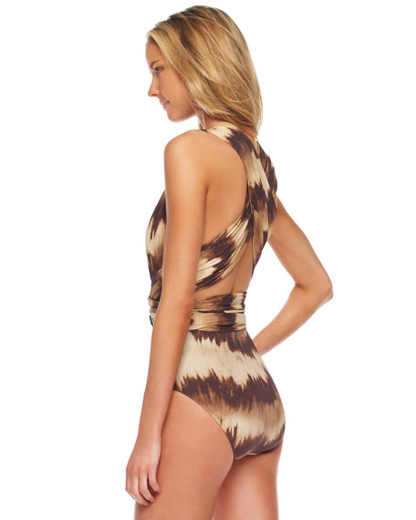 Belted Tie-Dye Striped Maillot Swimsuit