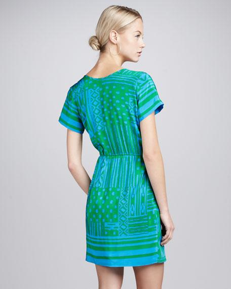 Draped Tribal-Print Dress