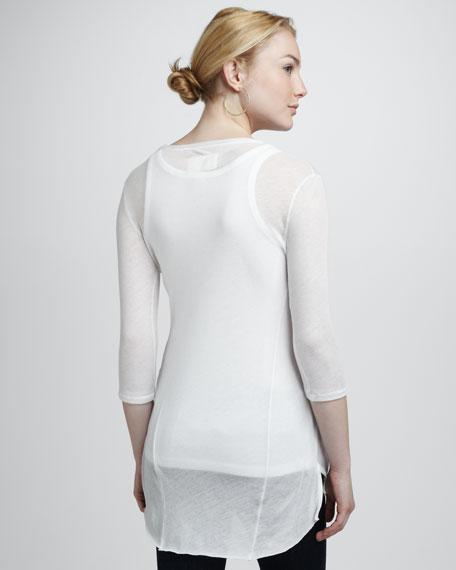 Three-Quarter Sleeve Nordic Tee, White