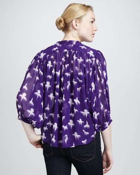Three-Quarter Sleeve Bird-Print Blouse