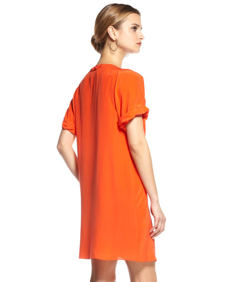 Pleated-Shoulder A-line Dress