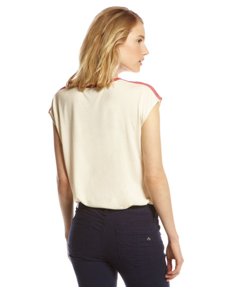 Chiffon-Trim Bodysuit