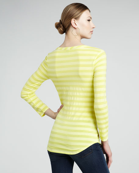 Striped Henley Top, Yellow
