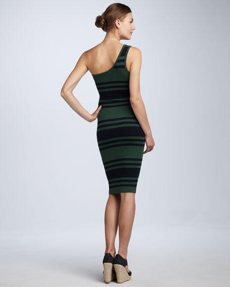 Jag Striped One-Shoulder Dress