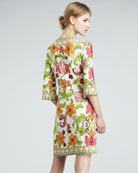 Cactus Flower Three-Quarter Sleeve Dress