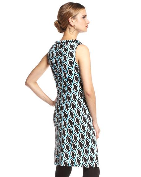 Pattern Cowl-Neck Silk Dress