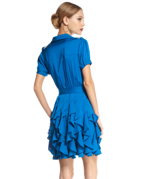 Joplin Ruffle-Skirt Dress, Peacock