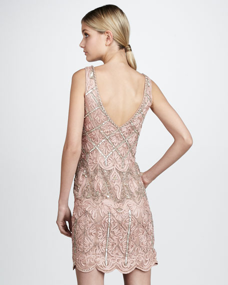 Metallic-Beaded Passementerie Dress