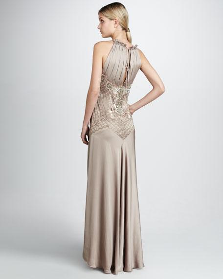 Beaded-Waist Satin Gown