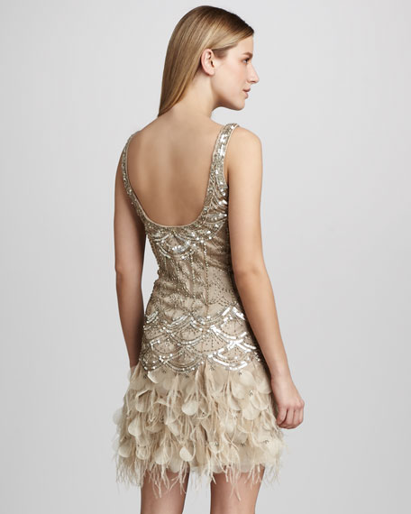 Feather-Embellished Cocktail Dress