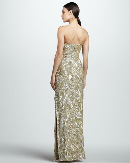 Strapless Beaded Column Gown
