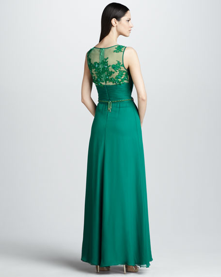 Sleeveless Gown with Beaded Belt