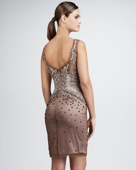 Beaded Deep-V Cocktail Dress