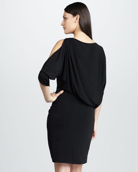 Cold-Shoulder Draped Cocktail Dress