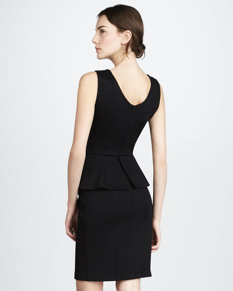 Sleeveless Peplum Dress, Black