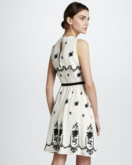 Sweet Nectar Embroidered Silk Dress