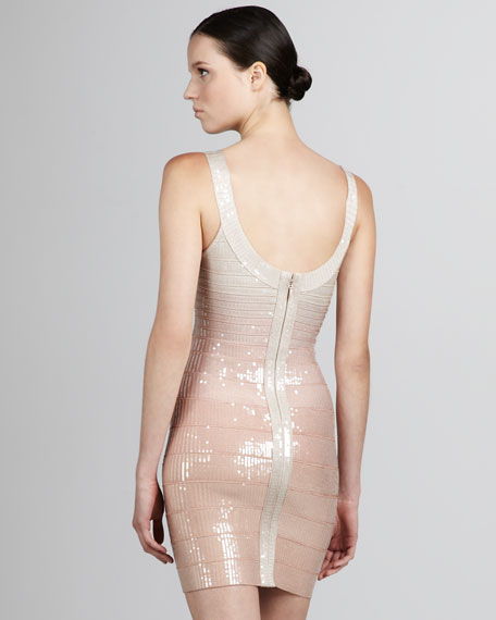 Sequined Scoop-Neck Bandage Dress