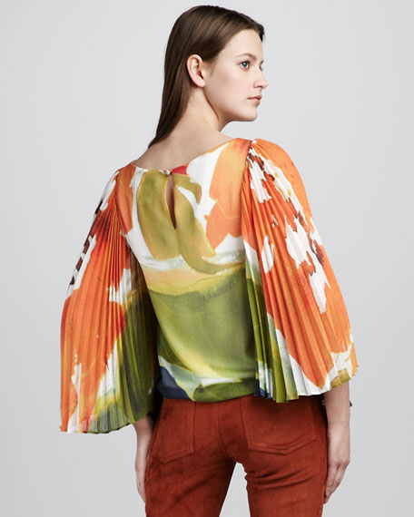 Anna Pleated-Bell-Sleeve Top