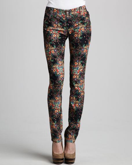 Ditsy Floral-Print Jeans