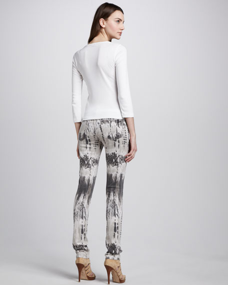 The Skinny Charcoal Feather-Print Jeans