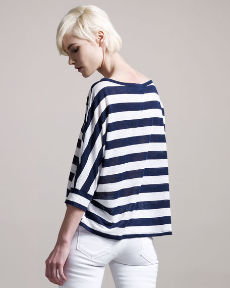 Jasmina Big-Stripe Linen Top
