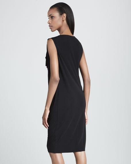 Draped-Shoulder Asymmetric Dress