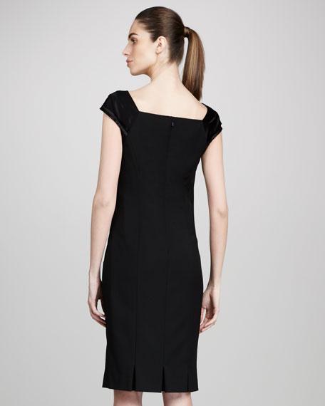 Satin Sleeve Inset Wool Sheath Dress