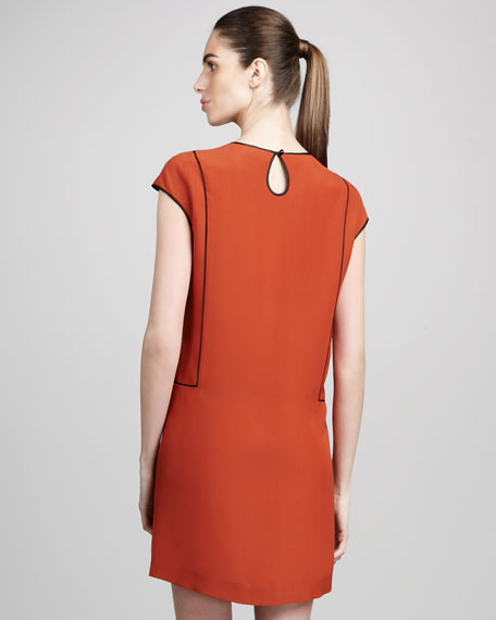 Contrast Piping Cocoon Dress