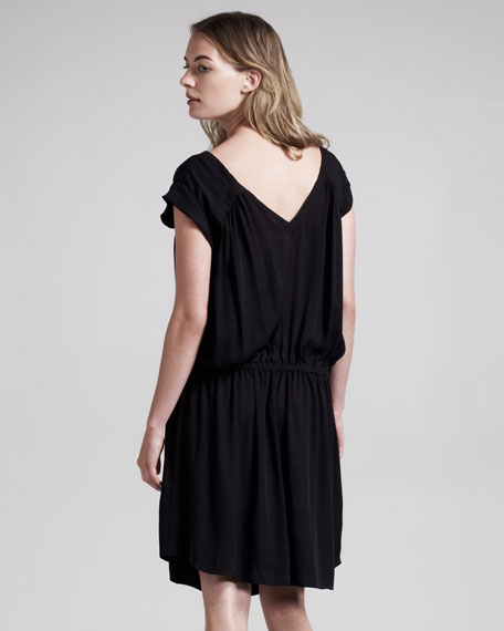 Meg Front-Zip Silk Dress