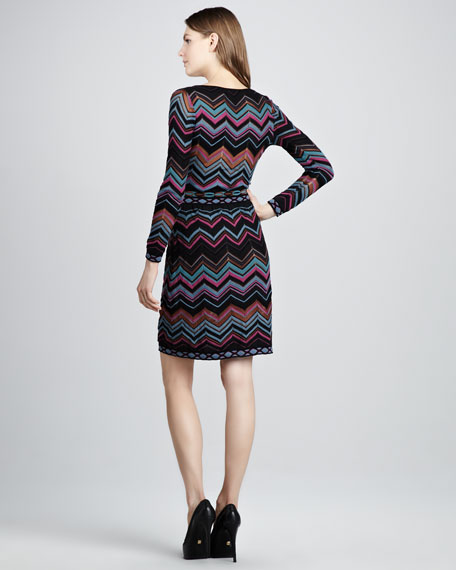 Zigzag Faux-Wrap Dress