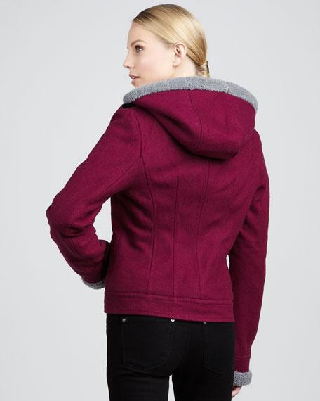 Waverly Hooded -Trim Short Coat