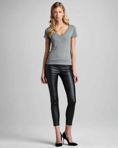 Faux-Leather Leggings, Black Bean