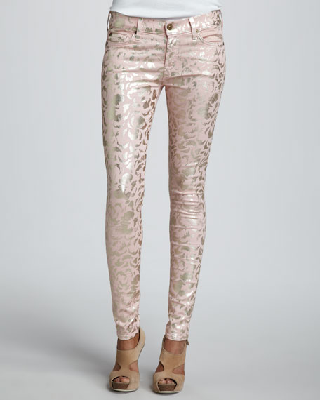 The Skinny Metallic Floral-Print Jeans