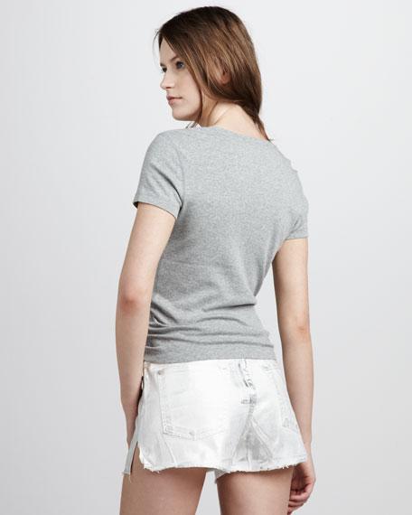 Metallic Denim Cutoff Shorts