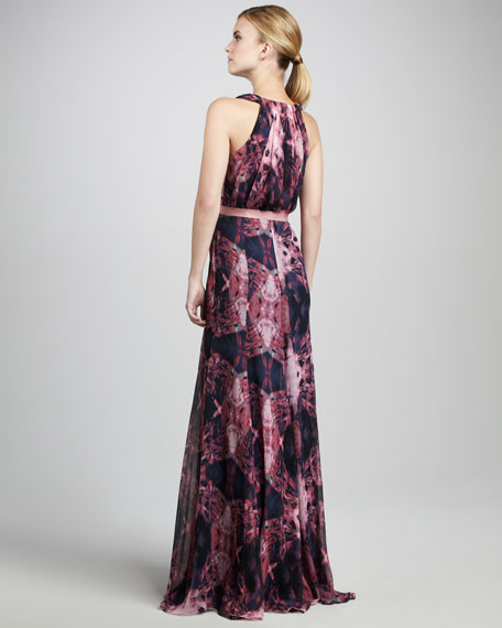 Printed Chiffon Gown