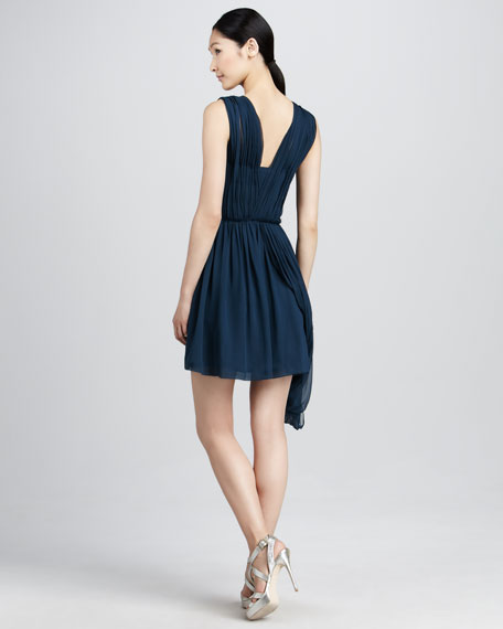 Ruched Chiffon Cocktail Dress