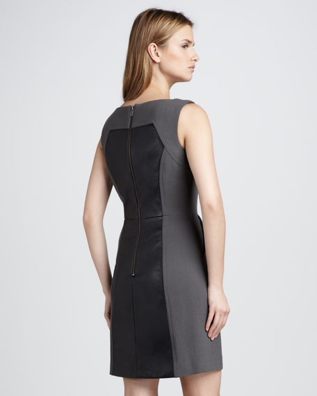 Nina Colorblock Leather Dress, Slate