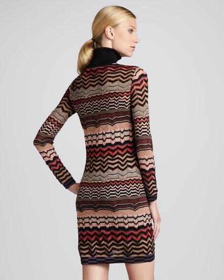 Small-Zigzag Turtleneck Dress